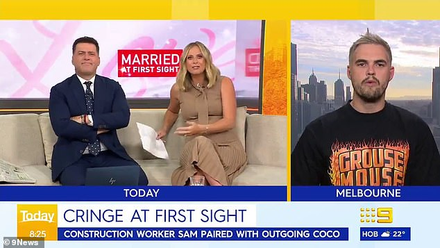 """Is it any wonder you can't find a partner?  Karl Stefanovic took a wild hit on MAFS groom Sam Carraro on Wednesday in a live interview on Today"