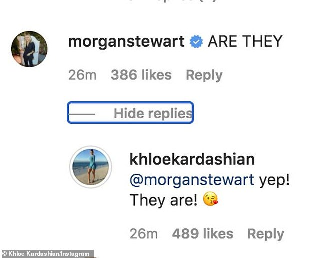 Ambiguous: When writer Morgan Stewart asked 'ARE THEY,' fans hoped she was talking about Khlo's relationship to Tristan Thompson and not the shoes