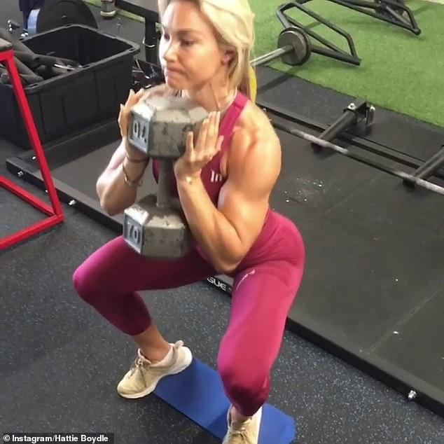 Hattie has certain days where she targets her glutes (pictured), both with bodyweight exercises and weight-based workouts in the gym