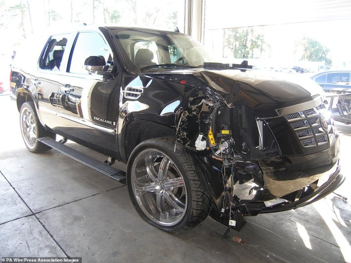 Tiger Woods' SUV after he crashed it into a fire hydrant and tree outside his home in 2009
