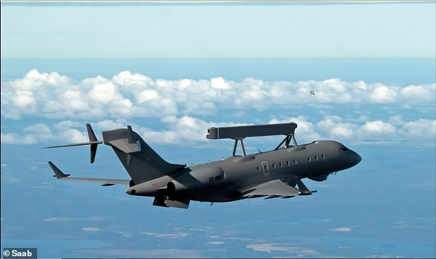 The SAAB GlobalEye spy plane, pictured, uses the body of a Bombardier Global 6000 business jet for its base