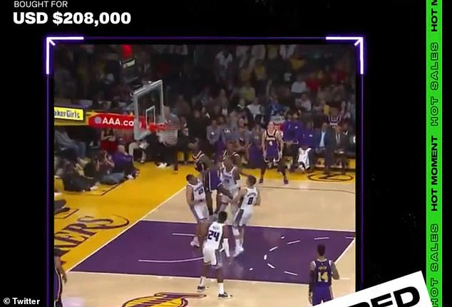 On Monday, a man paid $208,000 for a clip (pictured) of LeBron James dunking through an auction by NBA Top Shot, which mints basketball highlights into NFTs