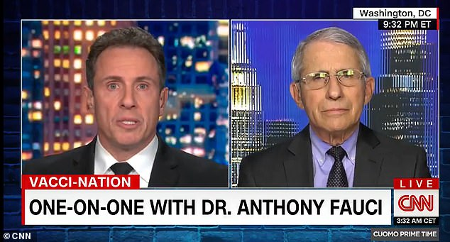 Fauci appeared on CNN on Thursday night and said socializing restrictions could be lifted