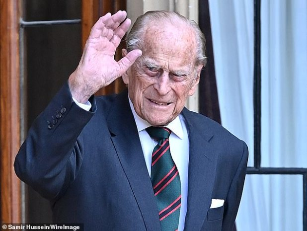 Prince Harry has revealed that his grandfather, Prince Philip (pictured above, in July last year), 99, ends Zoom's family calls simply by closing his laptop instead of pressing the exit button.
