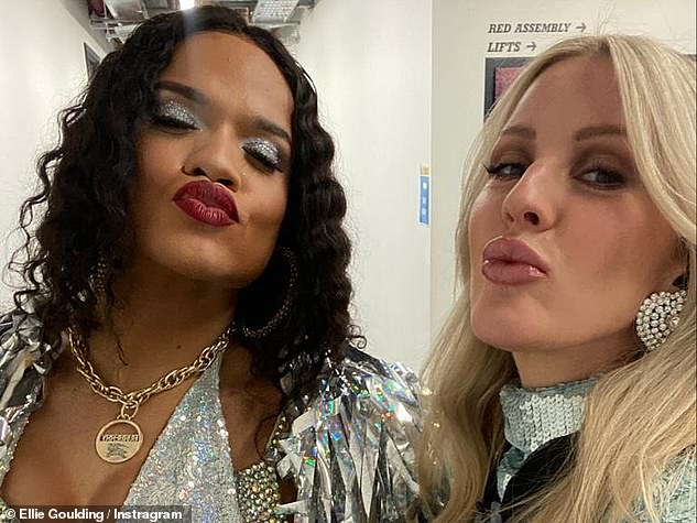 Pouting:In another selfie, the star showed off her stunning features which she'd highlighted with a lick of makeup
