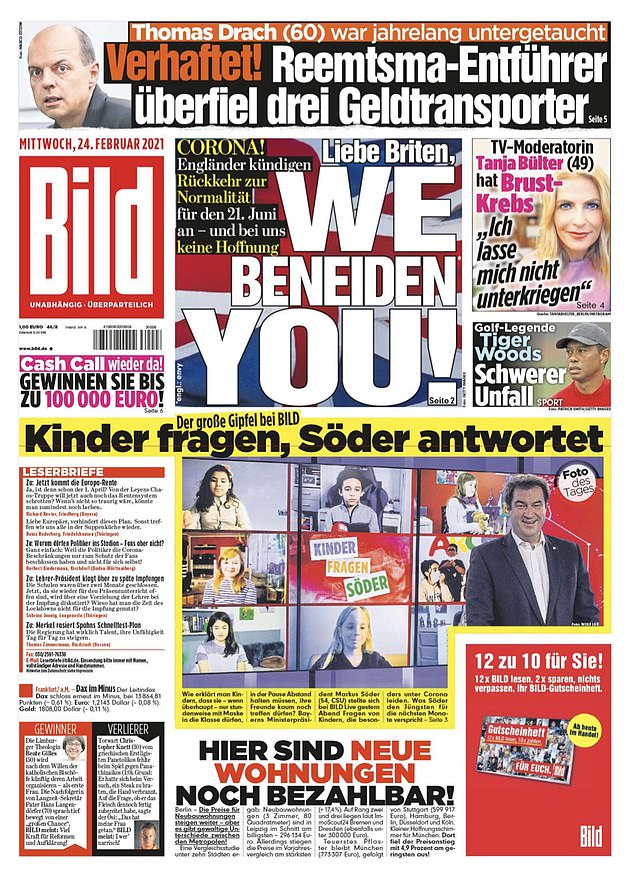 The biggest selling newspaper in Germany praised the UK's vaccination rollout