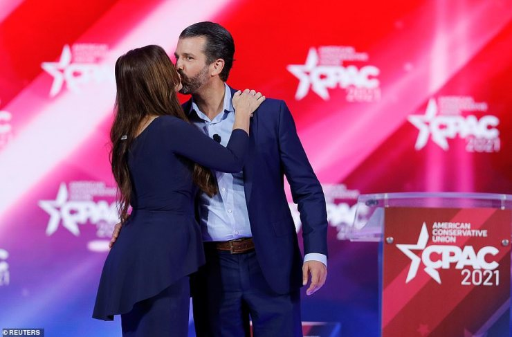 Donald Trump Jr and Kimberly Guilfoyle previewed Donald Trump's return to the political stage when the duo addressed CPAC on Friday
