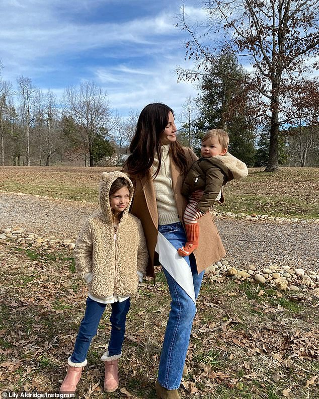 Family: The couple welcomed their daughter Dixie, now eight, and in 2019, they had a son, Winston Roy, who is now two-years-old. Lily is pictured with her children