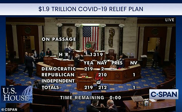 The House passed the bill in the early hours of Saturday morning with every GOP member voting against the plan and two Democrats, Reps. Kurt Schrader of Oregon and Jared Golden of Maine, joining Republican ranks