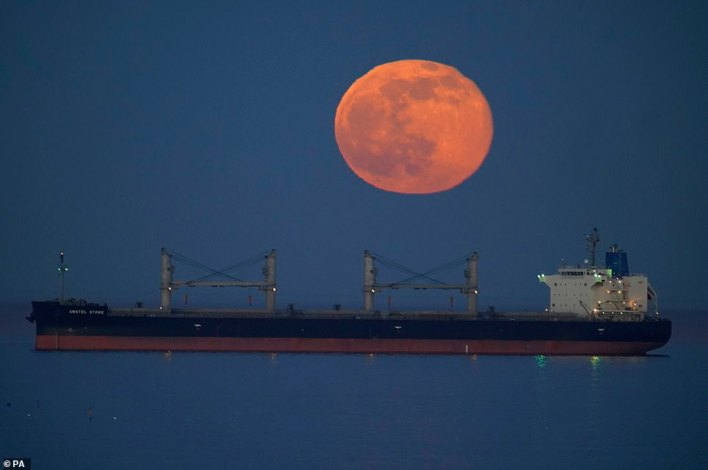Tonight's supermoon (pictured in Tynemouth) is not as bright as 2020's Snow Moon - but it still made for an illuminating sight across the UK when it shone at its brightest this evening