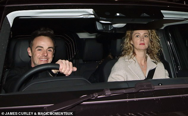 Getting married soon: The presenter, 45, and his personal assistant, 43, gave delighted smiles as they greeted fans as Ant drove his sweetheart home