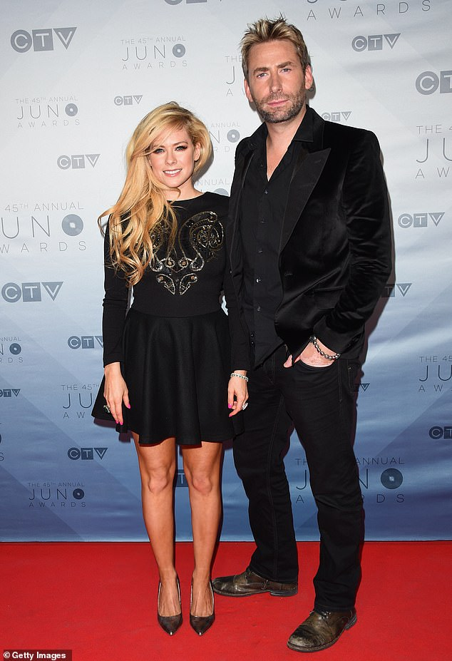 Twice divorced: The Complicated singer has been married twice, first to Sum 41 guitaristDeryck Whibley from 2006 to 2010, then to Nickelback frontman Chad Kroeger from 2013–2015; seen with Kroeger in 2016