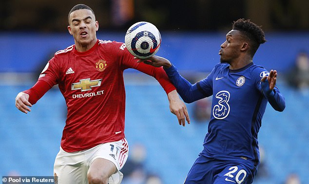 Callum Hudson-Odoi (right) handled the ball inside the Chelsea box during the first half