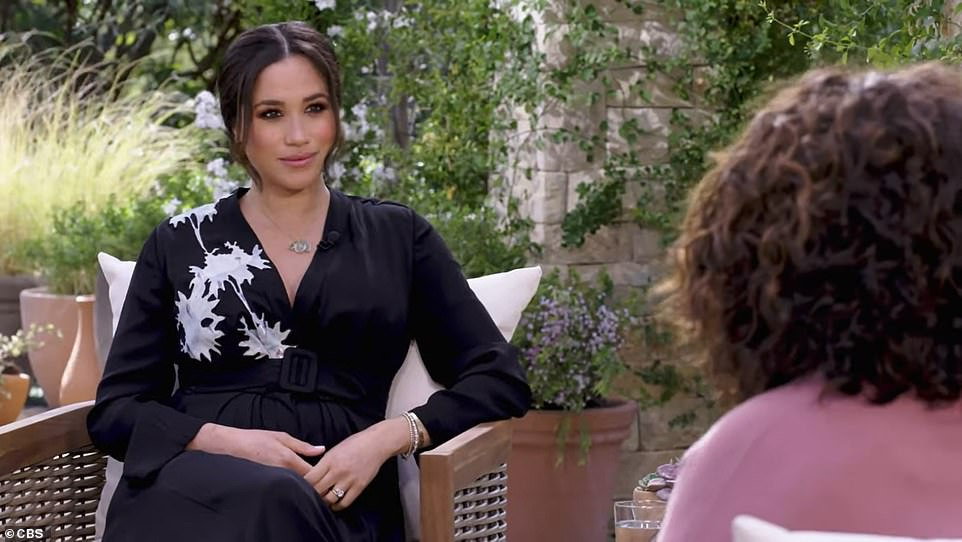 ENIGMATIC SMILE THAT ECHOES DIANA: The 'Sphinx-like' Duchess of Sussex maintains an 'enigmatic' smile as she speaks to Oprah Winfrey in the first trailer for their bombshell interview in echoes of Princess Diana on Panorama, body language expert Judi James said