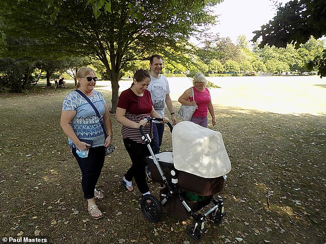 Paul who has set up Running For The Boys on Facebook, added that he's running a mile a day throughout 2021 to raise awareness of child loss. Pictured: The couple with Ryan and his grandmothers