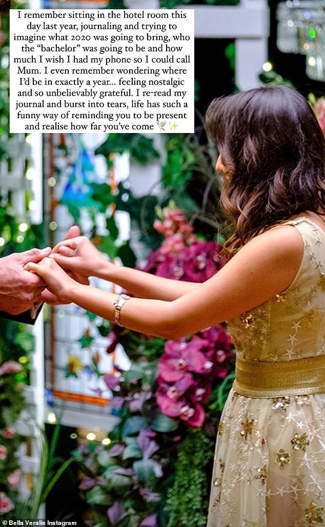 Reflective: The 26-year-old shared a photo of her red carpet introduction on The Bachelor - but instead of including Locky in the image, she cropped him out and only his hands were visible