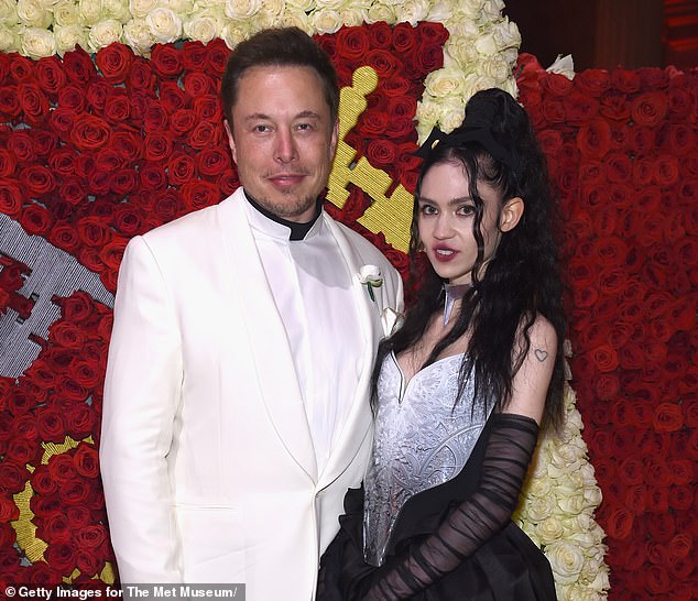Grimes, pictured right with her partner - the world's second-richest man, Elon Musk - put some of her artworks up for sale on an NFT auction site