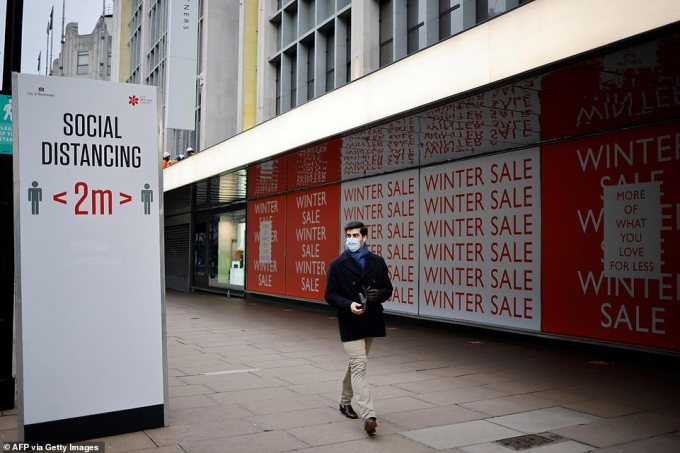 'Restart grants' worth up to £6,000 per premises will be available to shops and will be designed to help non-essential retailers reopen and trade safely. Oxford Street is pictured in January