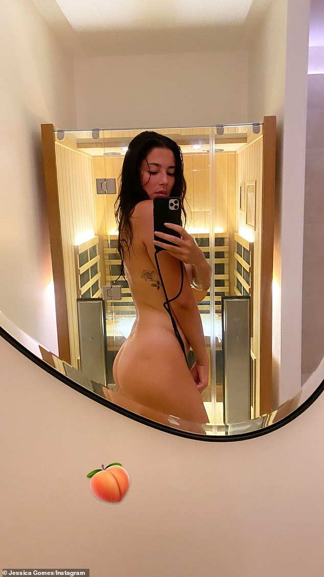 Peachy: Sports Illustrated model Jessica Gomes went completely nude for an Instagram selfie on Tuesday as she showcased her butt after spending time in a sauna