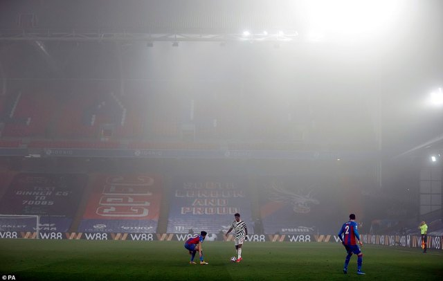 Weather conditions made for a very testing evening, with the mist sweeping down inside the stadium throughout the contest