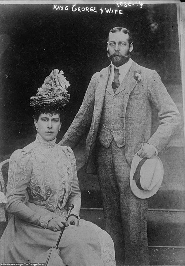 King George V, who reigned from 1910 until his death in 1936, is seen pictured with his wife Mary of Teck in this photograph from the collection of pictures from the Bain News Service - one of America's earliest news picture agencies. King George married Mary of Teckin London on July 6, 1893 at the Chapel Royal, St James's Palace after King George proposed to her that year. On the day of the wedding, George accidentally spotted Mary in her wedding dress down a long corridor in Buckingham Palace and, in an attempt to forget about the bad luck, made a 'low and courtly bow' - a gesture Mary never forgot