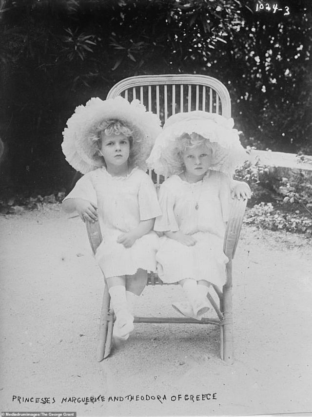 Princess Margarita and Princess Theodora of Greece, two of Prince Philip's older sisters, are seen in this photograph sitting together on a wooden chair in 1910. Prince Philip had a close relationship with his sisters and even named Margarita as a godparent to Princess Anne. Margarita died in 1981 and Theodora, who Philip briefly lived with at one stage in his life after his mother was committed to an asylum and their father moved to Monaco, died in 1969