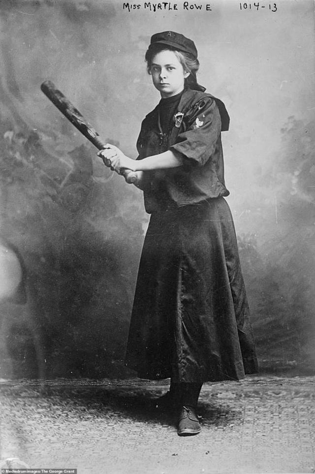 Female baseball player Myrtle Rowe is seen posing with her bat in this portrait from March 14, 1910. Rowe originally signed to play first base for the semi-professional Antler Athletic Club in New Kensington at the age of 18. Unlike the men on her team, Rowe's playing uniform consisted ofa blouse and a skirt down to her ankles. Women continued to play in the same baseball leagues as men until the 1930s when Jackie Mitchell struck out Lou Gehrig and the legendary Babe Ruth leading to the baseball commissioner banning women from Major League Baseball