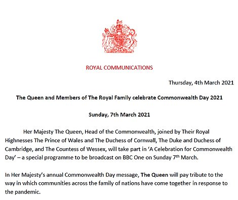 Buckingham Palace issued a press release about the Commonwealth service