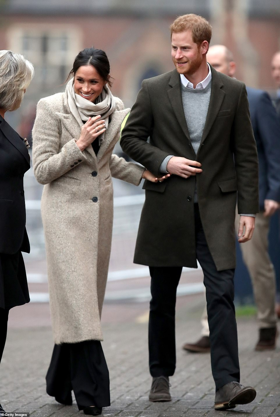Meghan made her second public appearance visiting Reprezent Radio in a camel Smythe coat, a Marks & Spencer jumper and Burberry trousers in January 2018