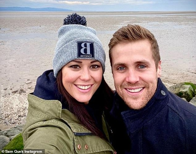 Baby news: The former England hockey player revealed she was pregnant in November after tragically miscarriage in early 2020 (pictured with Tom)