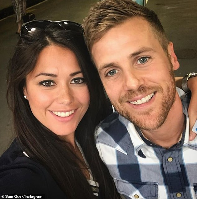 Cute couple: 33-year-old sports panelist shared the happy news on Monday, shocking herself and husband Tom Myers by accepting the news