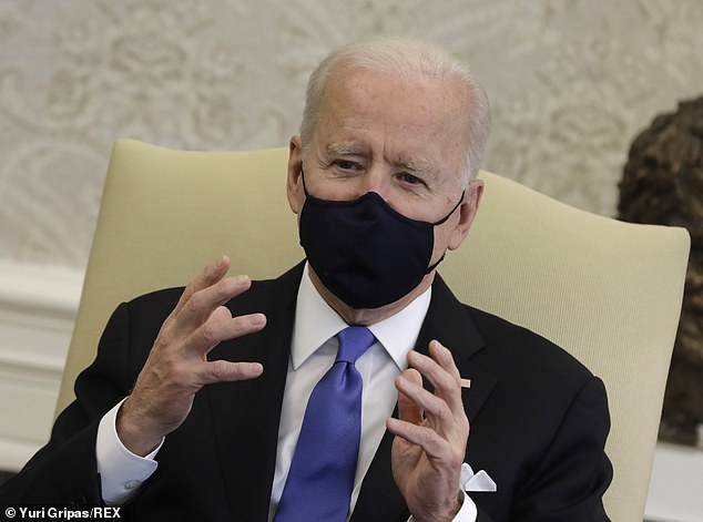 McEnany hit out at Biden for reacting on Wednesday to Texas and Mississippi reopening and killing off mask mandates by calling it a 'big mistake.' Biden added: 'The last thing we need is neanderthal thinking'