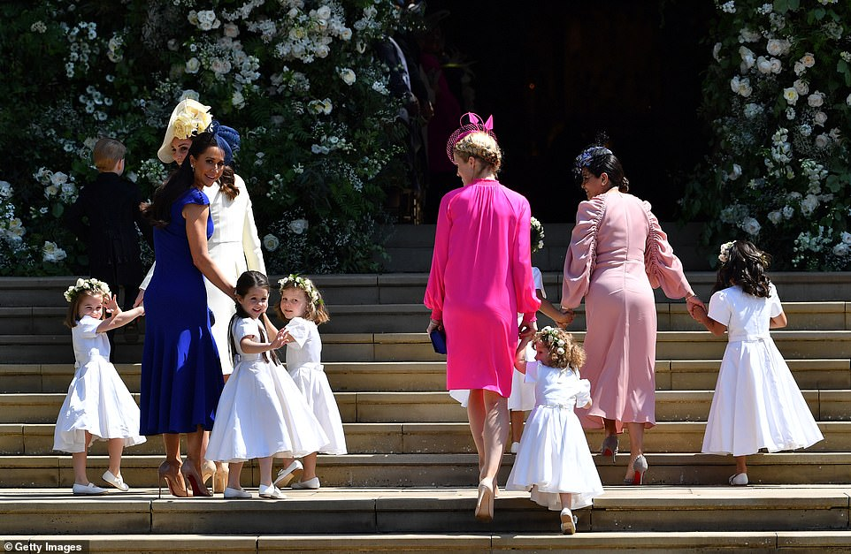 The Duke and Duchess of Sussex felt negative stories about them - including Kate allegedly being left in tears following a bridesmaids' dress fitting before Meghan's 2018 wedding (pictured) - must have been briefed by Kate, Camilla or Charles' households, the Palace insider said