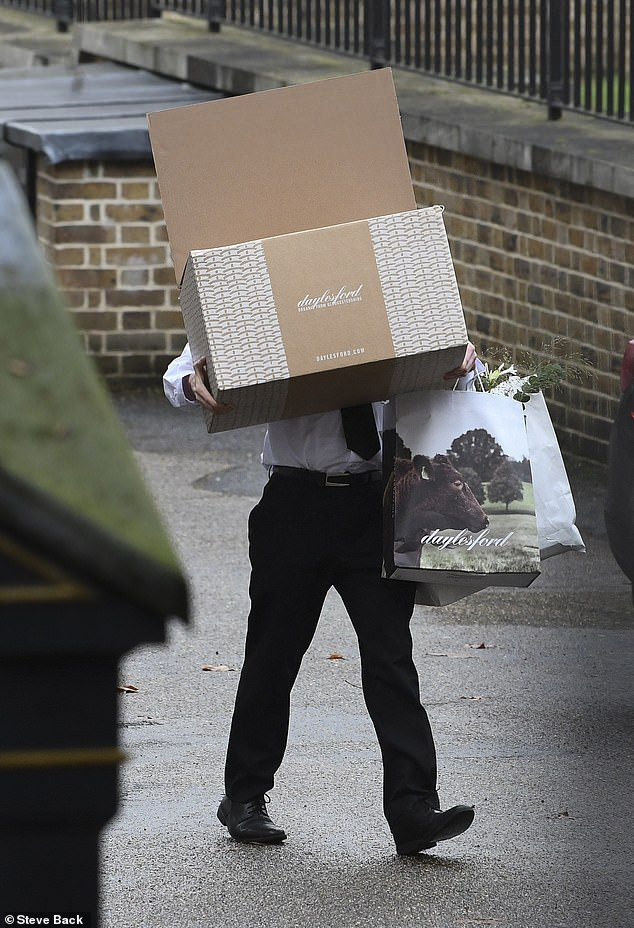 A heaving box of weekly shopping from Daylesford ¿ one of the most expensive food stores in Britain, and which is favoured by celebrities including Hugh Grant ¿ is delivered to Downing Street on Tuesdays with a bouquet of flowers
