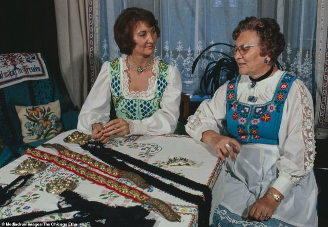 Inside the home of German Americans, Mr. and Mrs. Martin Schwarz, Chicago, Illinois. The women are dressed in traditional Bavarian dresses