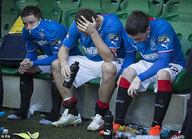 Rangers players react to their Ramsdens Cup Final defeat to Raith Rovers at Easter Road