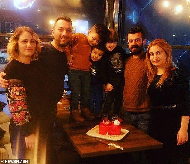 The Tokkal (left) and Boga (right) families together at a birthday party.Mehmet Serif Boga (second right) is accused of murdering his former business partner, along with his wife and son