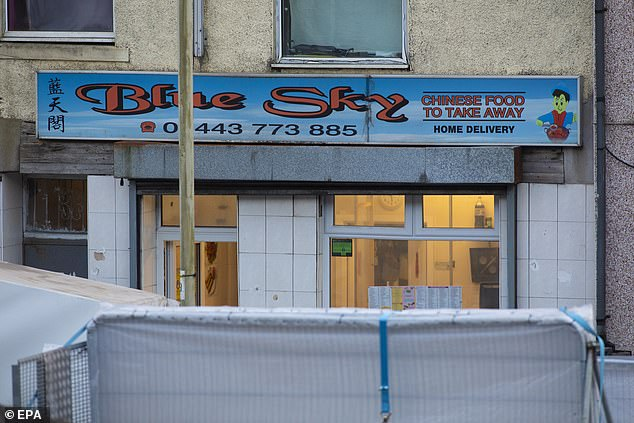 A Chinese restaurant called The Blue Sky is closed off on Baglan Street, Treorchy, South Wales