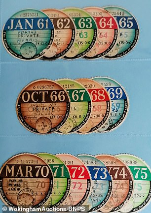 Tax discs from 1961 to 1975