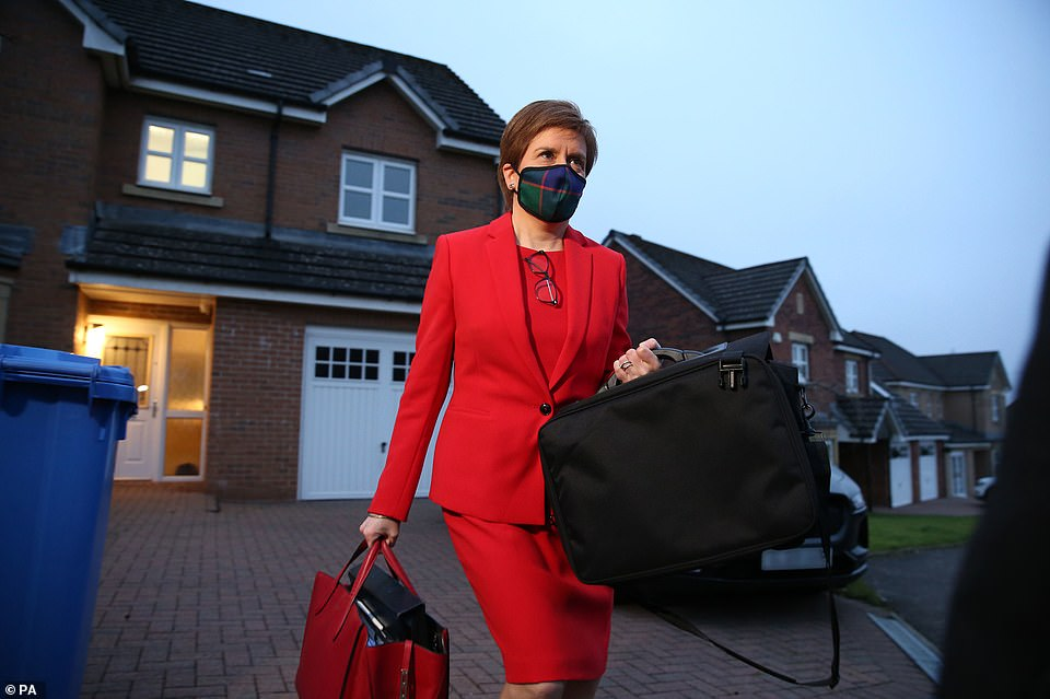 Nicola Sturgeon leaves her home, where it is claimed she first learnt about claims made against Mr Salmond
