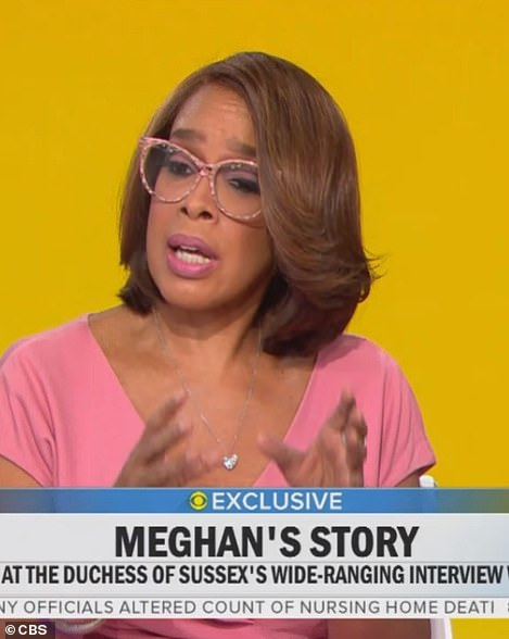 CBS presenter Gayle King spoke about the clip after it was shown on CBS This Morning, saying Meghan had been 'vilified'