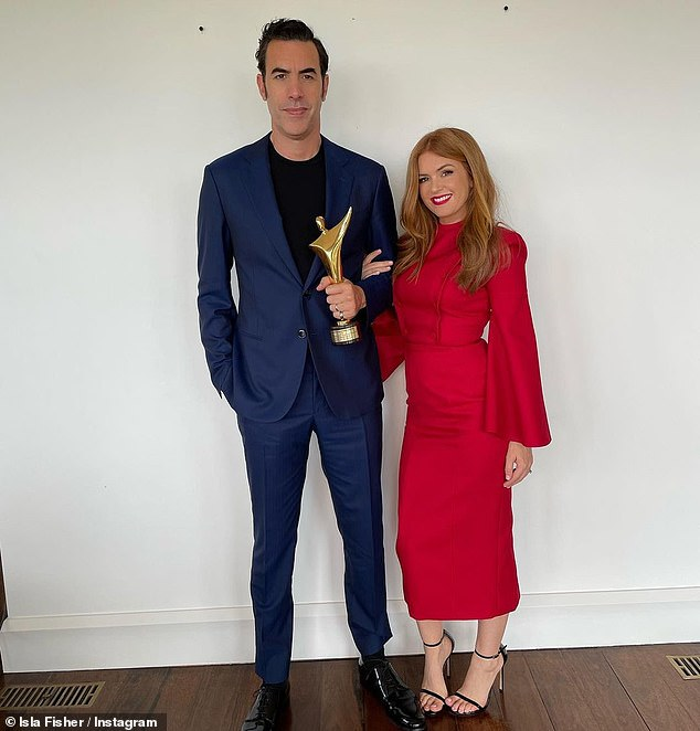 Sweet: Isla proved to be her husband Sacha Baron Cohen's number one supporter when she congratulated him on Instagram on Saturday after winning the Best Supporting Actor at the AACTA Awards in Australia.