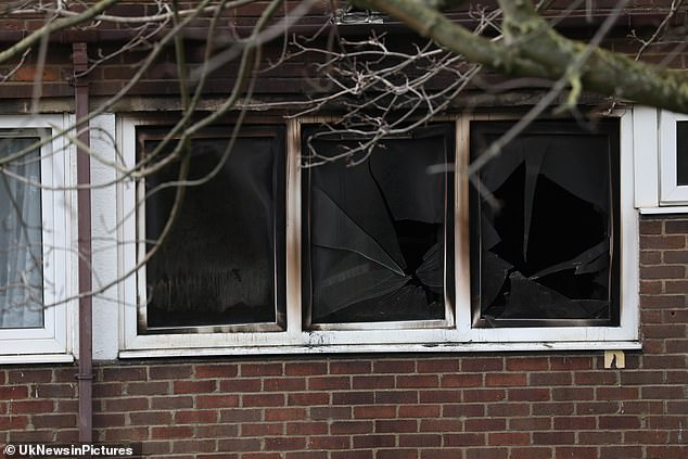 All three were taken to hospital by London ambulance crews, where one of the children died (smashed windows at the property)