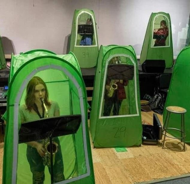 In the United States, some school children have been using personal tents for band practice