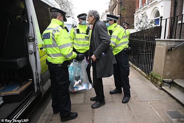 Piers Corbyn, who is a regular at anti-lockdown demonstrations, was among those being led away