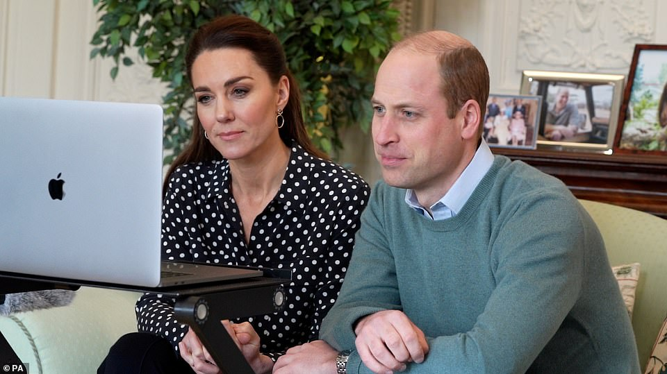 A photograph released by Kensington Palace today of the Duke and Duchess of Cambridge during their videocall with the parents of a schoolboy who have praised the text helpline, Shout 85258, developed by the couple's Royal Foundation