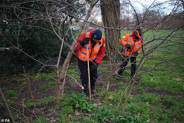 Two people from London Search and Rescue seen during the search for the 33-year-old today