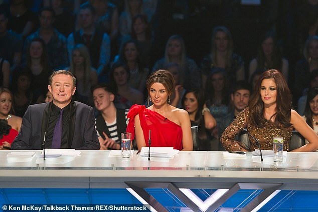 Mentor: The singer recently admitted she never thought about becoming a mother until she mentored young performers on The X Factor (pictured alongside Louis Walsh and Cheryl in 2010)