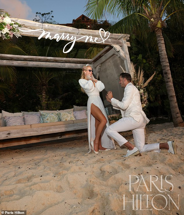 Engaged: the lovebirds formalized things on February 17, as Paris celebrated its 40th birthday on a private island