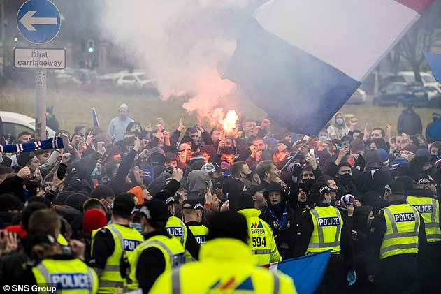 Rangers supporters had gathered in their thousands ahead of the game to celebrate